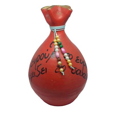 Πήλινος Κουμπαράς με Παροιμία Κόκκινος