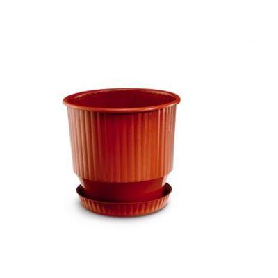 Γλάστρα Πλαστική Ionian Round Plastona Καφέ